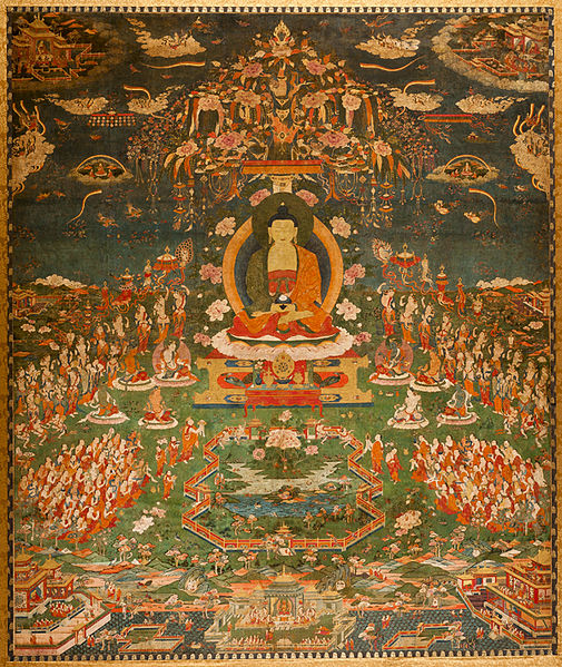 A painting of Amitabha in their Pure Land